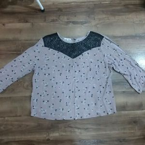 floral open sleeve maurices long sleeve blouse
